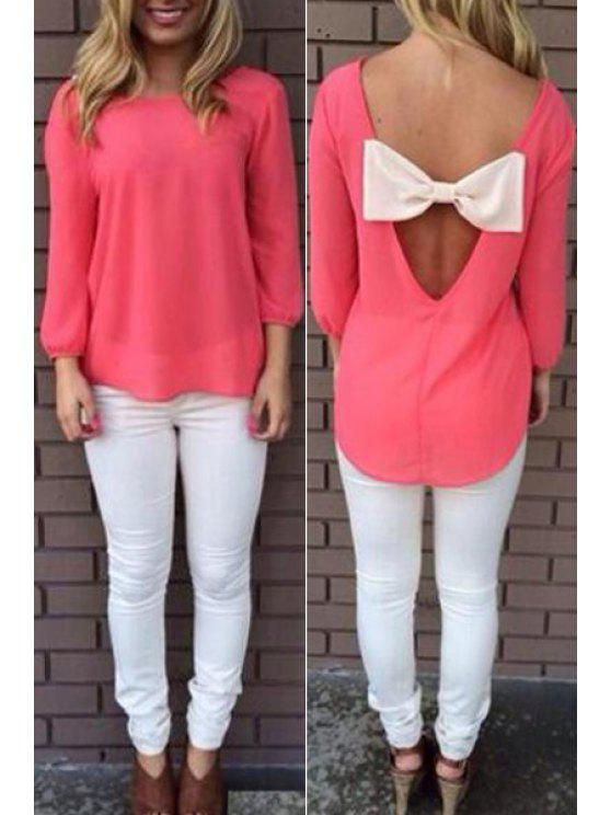 shops Back Bowknot Splicing Long Sleeve T-Shirt - PINK S