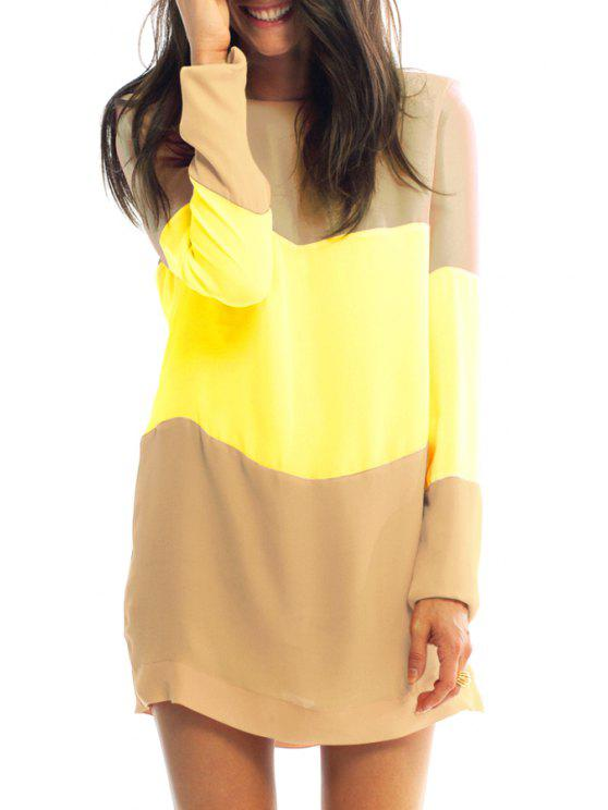 shops Splicing Color Block Long Sleeve Dress - KHAKI L