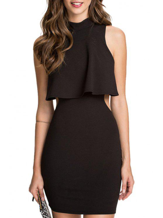 lady Black Open Back Sleeveless Dress - BLACK M