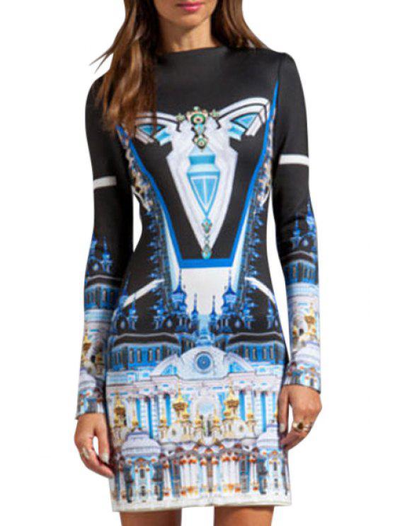 best Castle Print Long Sleeve Dress - BLACK M