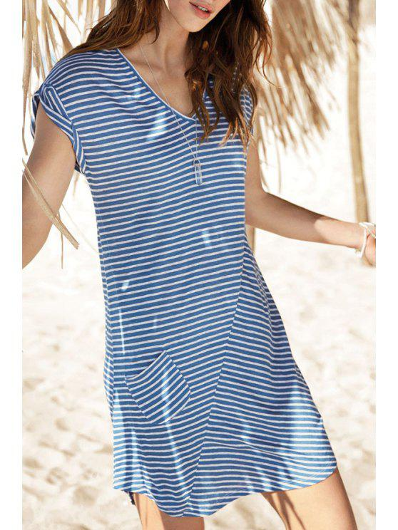unique Blue White Cap Sleeve V Neck Striped Dress - STRIPE S