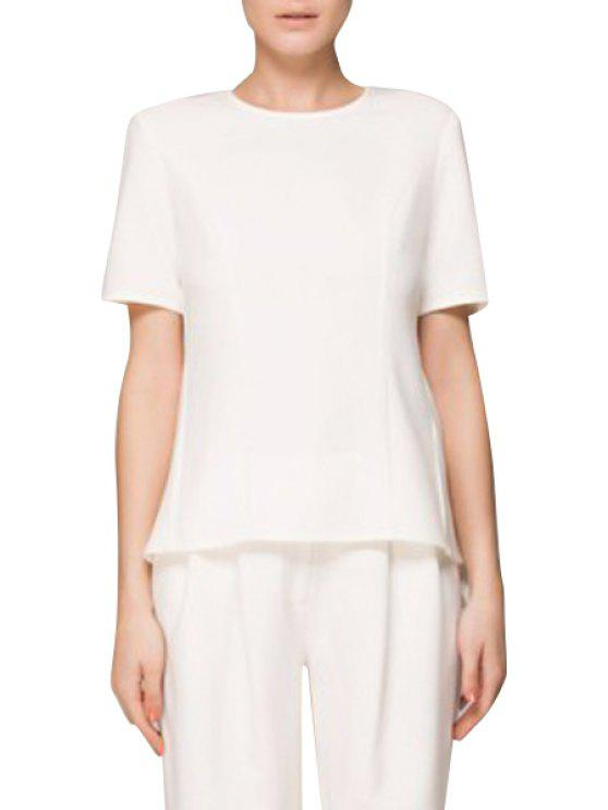 ladies Swallow-Tailed Zipper Short Sleeve T-Shirt - WHITE S