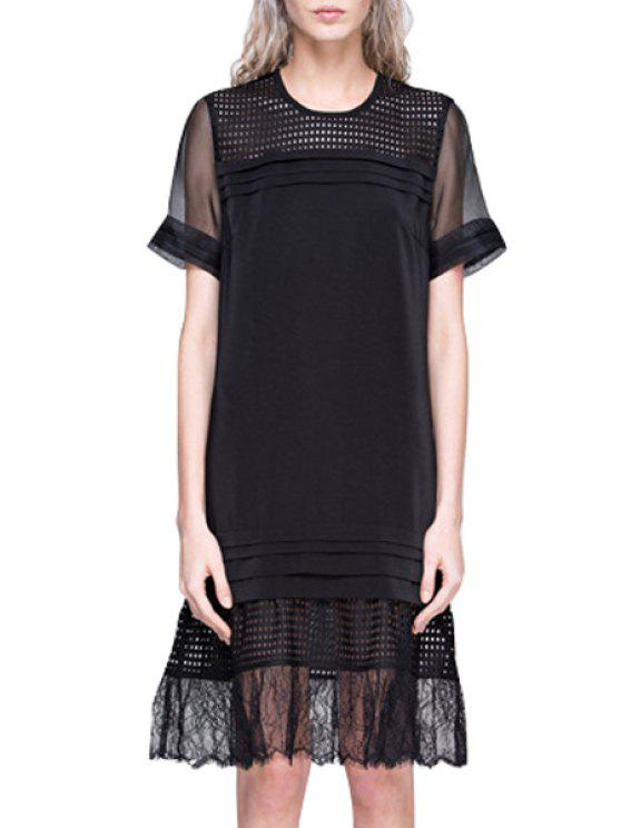 hot See-Through Volie Splicing Short Sleeve Dress - BLACK S