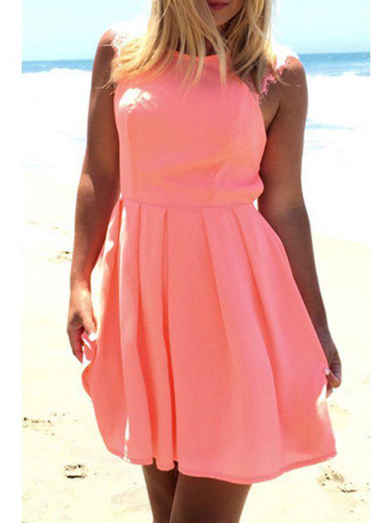 new Crochet Flower Cut Out Ruffled Pink Dress - PINK M