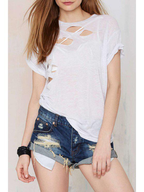 fashion See-Through Cut Out Short Sleeve T-Shirt - WHITE S