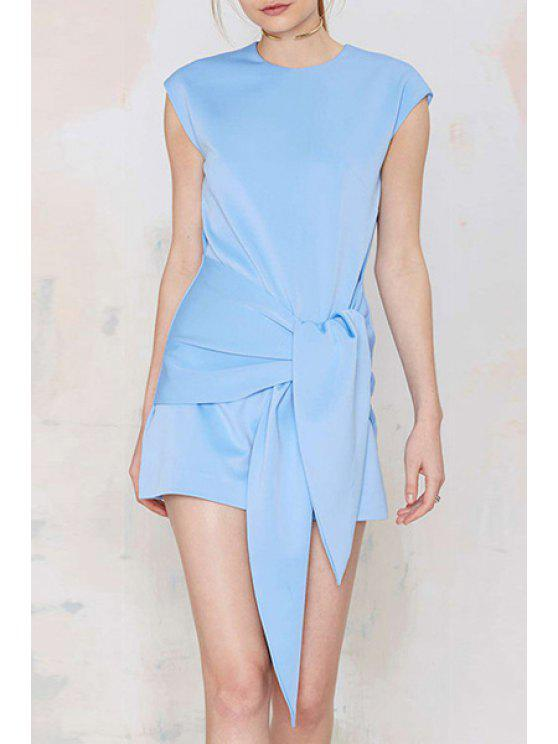 outfit Light Blue Round Neck Self-Tie Dress - LIGHT BLUE S