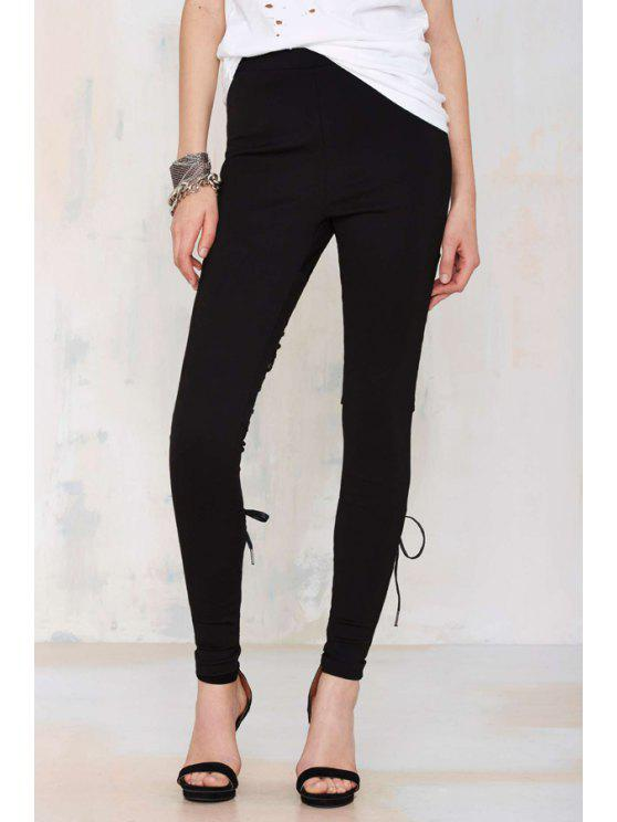 women Black PU Leather Tie-Up Pants - BLACK S