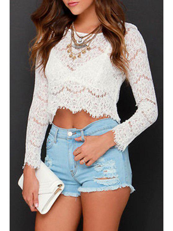 womens Lace Long Sleeve Crop Top - WHITE S