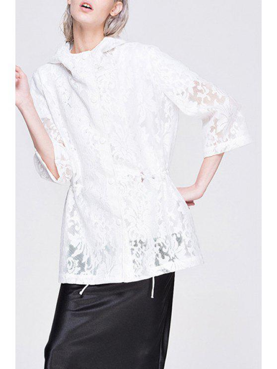 shops White Lace Hooded 3/4 Seeve Coat - WHITE S