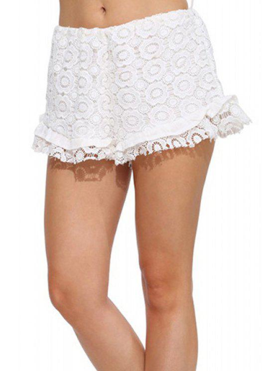 chic Lace Solid Color Elastic Waist Shorts - WHITE L