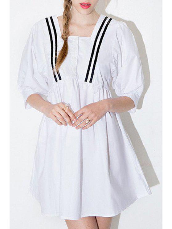 trendy Stripe Spliced Square Neck Half Sleeve Dress - WHITE S
