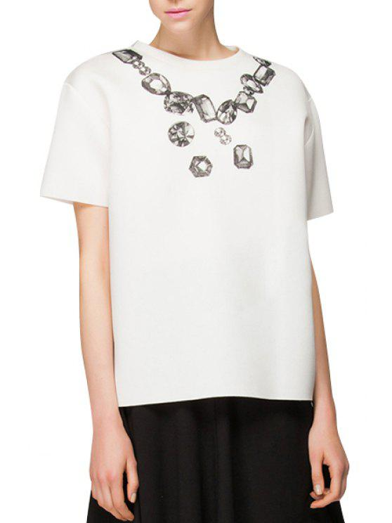 best Diamond Necklace Print Short Sleeve T-Shirt - WHITE S