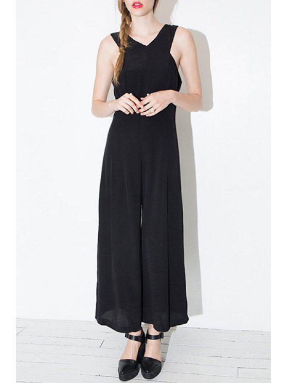 buy Black V Neck Sleeveless Jumpsuit - BLACK S