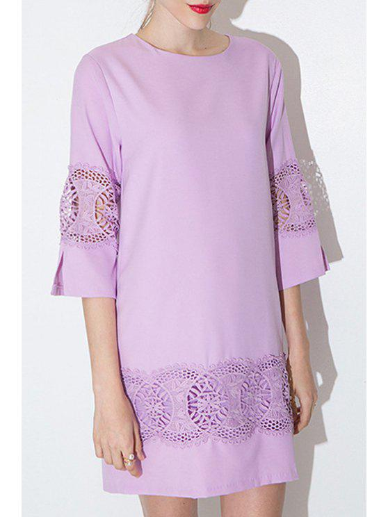 fancy Purple Hollow 3/4 Sleeve Dress - PURPLE S