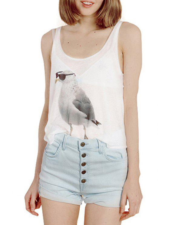 hot Scoop Neck Bird Print Sleeveless Tank Top - WHITE S