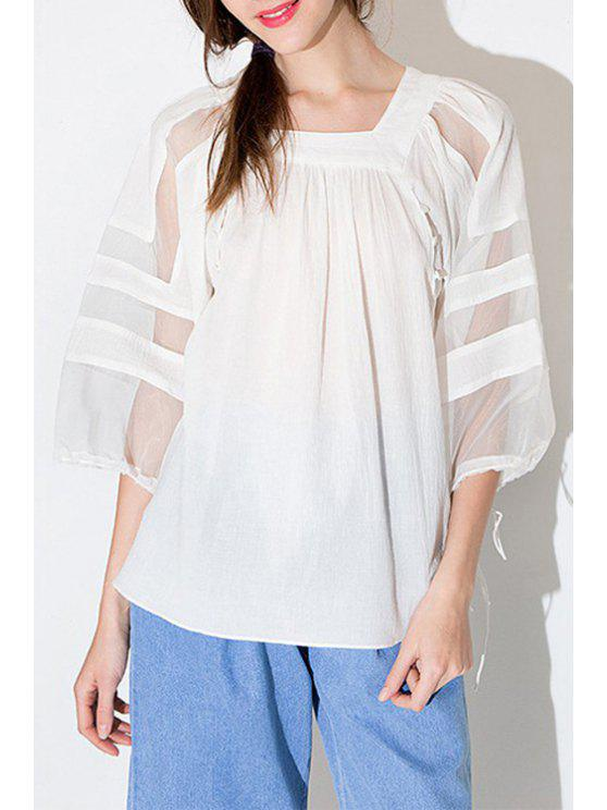 outfit Voile Spliced Square Collar 3/4 Sleeve Blouse - WHITE S
