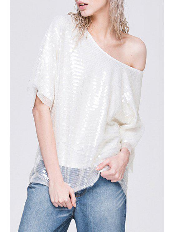 shop Scoop Neck Solid Color Sequins T-Shirt - WHITE S