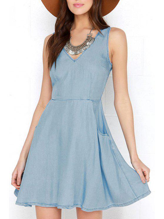 outfits Bleach Wash Backless Zipper Denim Sleeveless Dress - BLUE S
