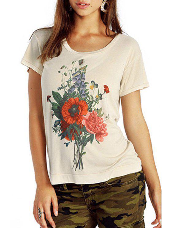 fancy Flower Print Short Sleeve T-Shirt - WHITE S