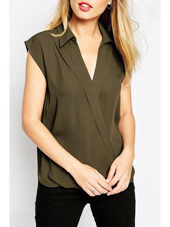 fashion Turn-Down Collar Cross High Low Shirt - ARMY GREEN S