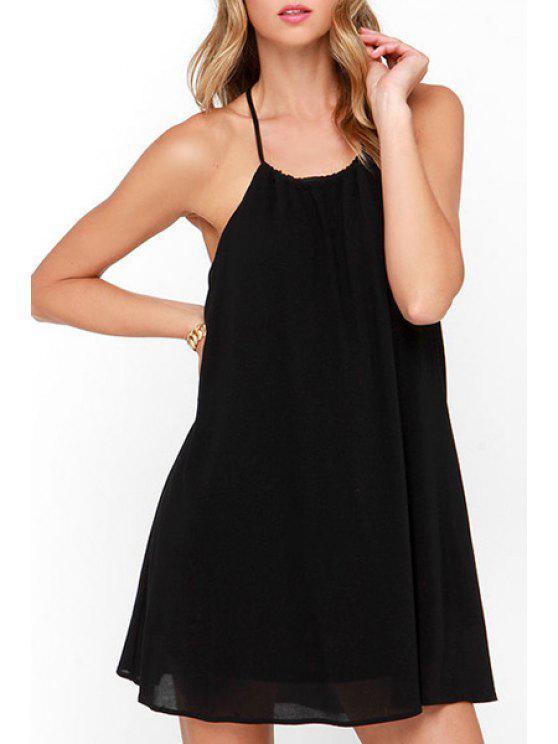 new Black Chiffon Spaghetti Strap Dress - BLACK S