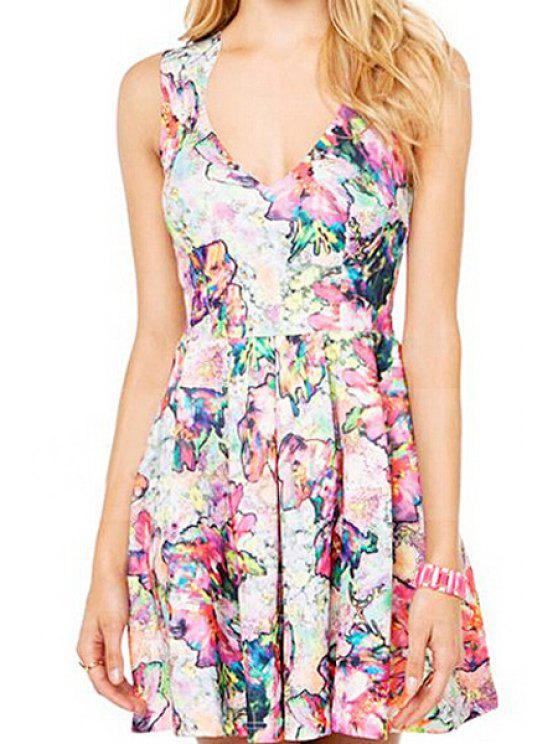 outfit V-Neck Colorful Floral Print Sleeveless Dress - PURPLE S