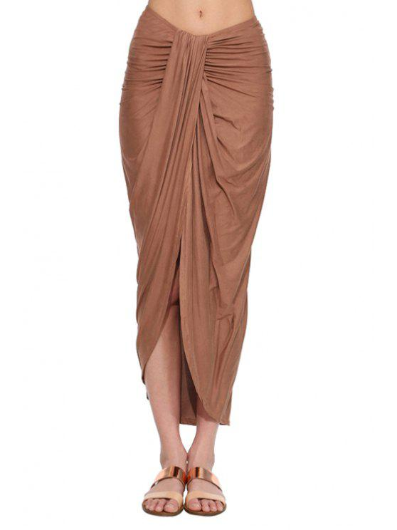 fancy Draped High Slit Long Skirt - BROWN L