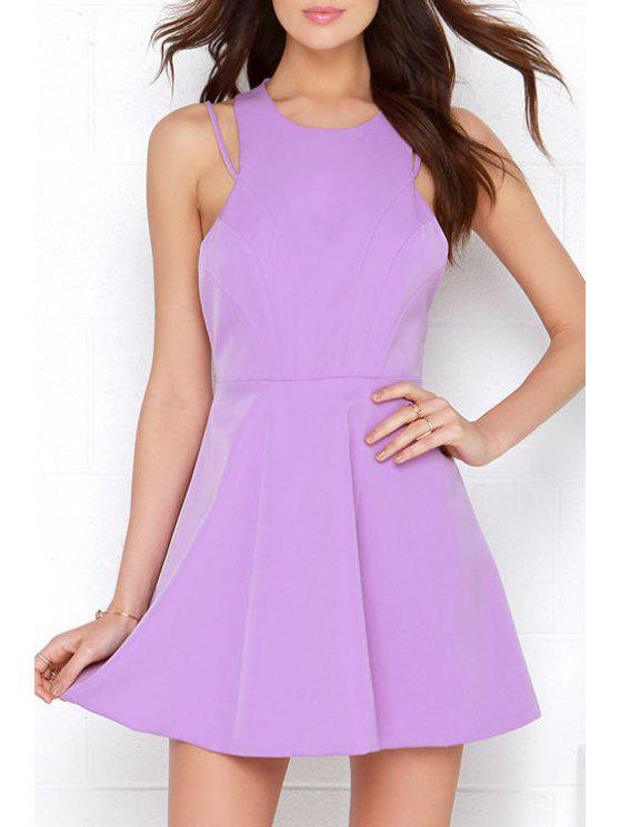 affordable Solid Color A Line Sleeveless Backless Dress - LIGHT PURPLE XL