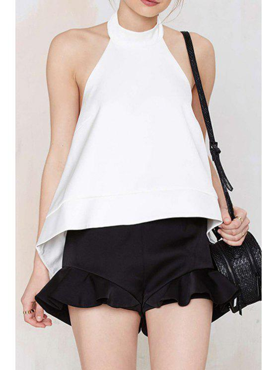 lady Backless High Low Sleeveless Tank Top - WHITE S