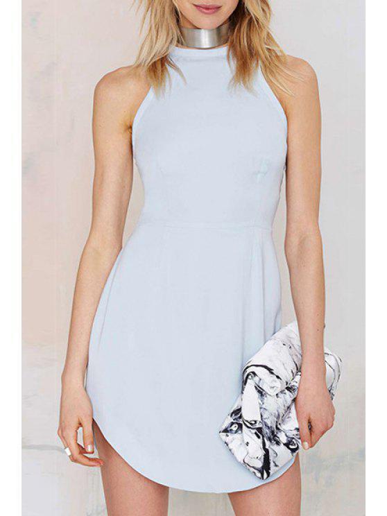 sale Blue Sleeveless Lace-Up Dress - BLUE S