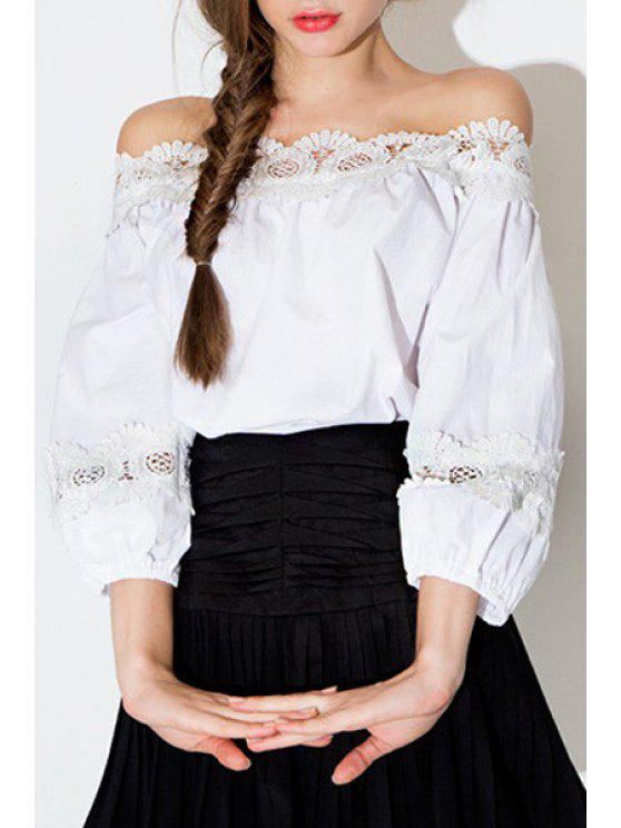 fashion White Lace Spliced Slash Neck Blouse - WHITE 2XL