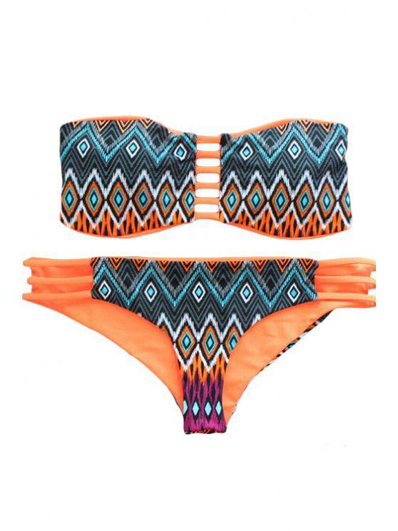 new Strapless Argyle Print Hollow Out Bikini Set - ORANGE L
