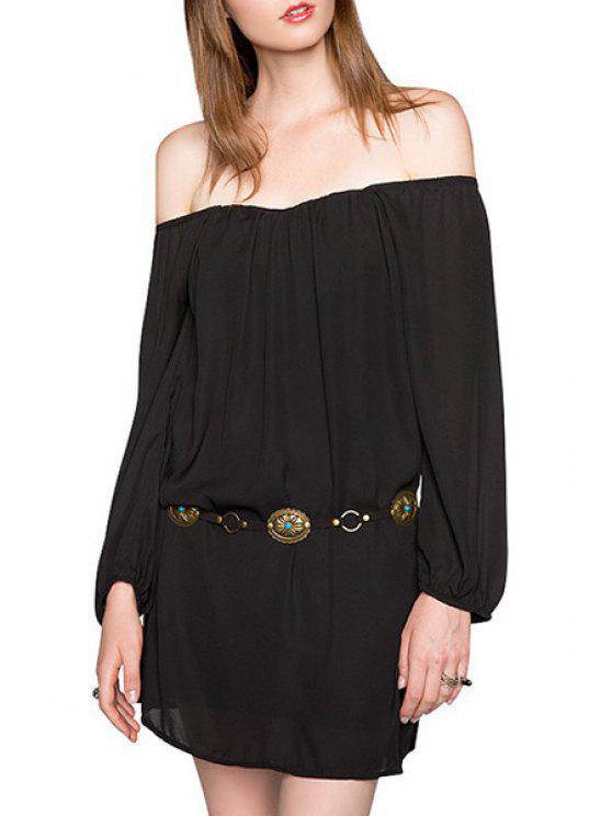 ladies Solid Color Slash Neck Long Sleeve Dress - BLACK S