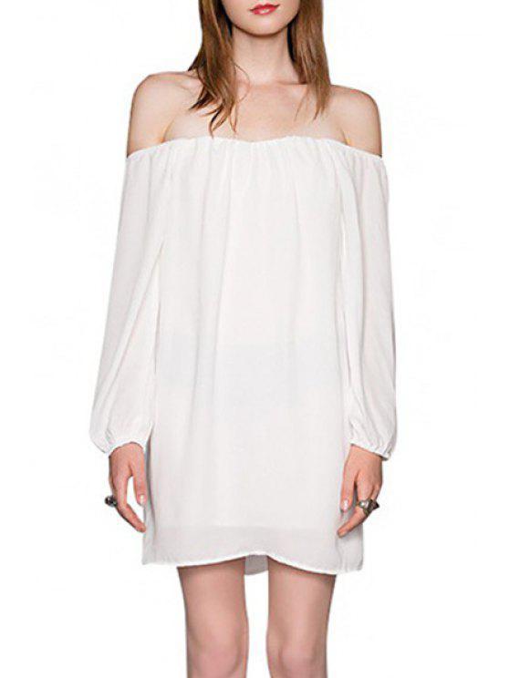 fancy Solid Color Slash Neck Long Sleeve Dress - WHITE XL