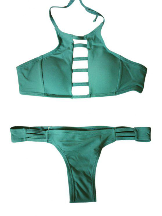 womens Spaghetti Strap Tie-Up Hollow Out Bikini Set - GREEN M