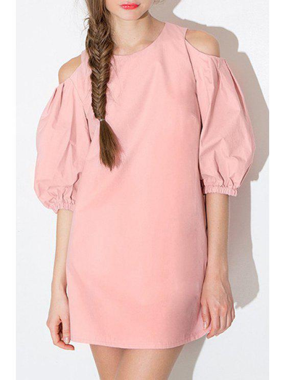 outfits Pink Cut Out Half Sleeve Dress - PINK S