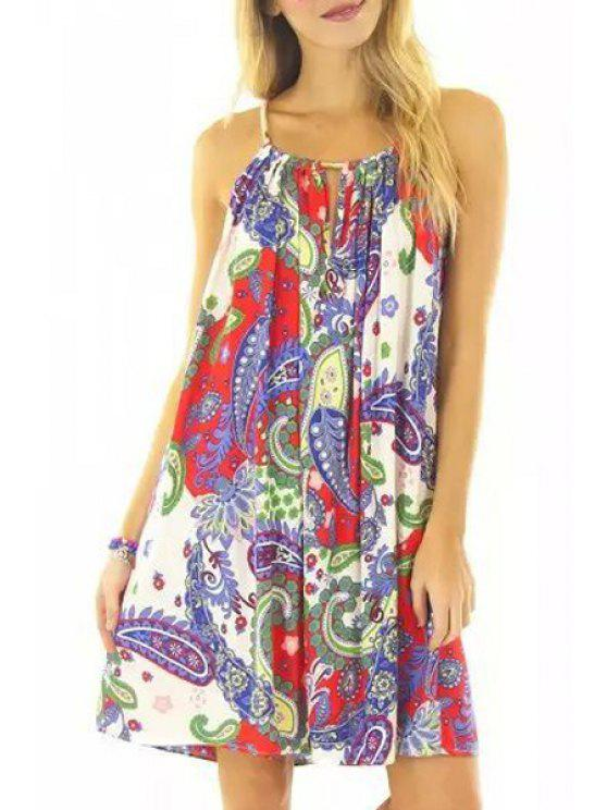 outfit Paisley Print Loose-Fitting Midi Dress - COLORMIX S
