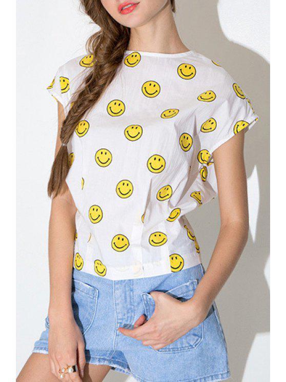 best Emoji Print Short Sleeves T-Shirt - WHITE S