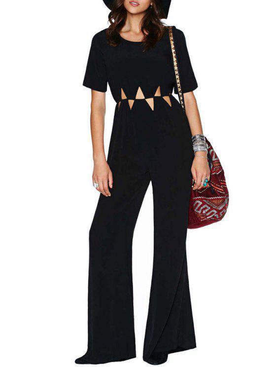 outfit Short Sleeve Black Hollow Jumpsuit - BLACK S