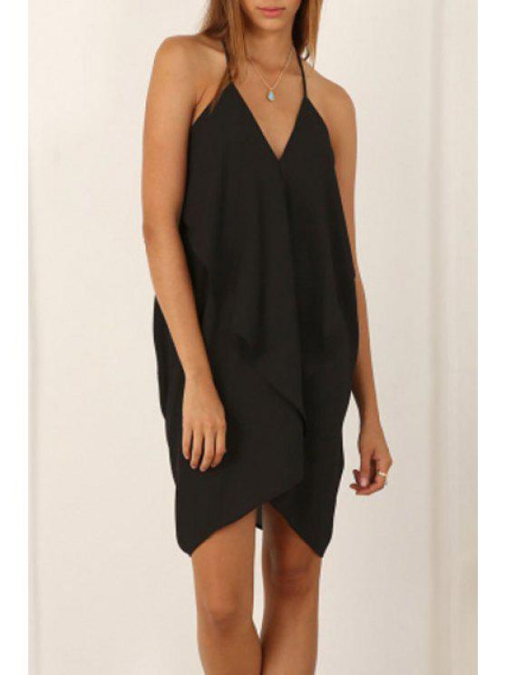 hot Black Spaghetti Strap Backless Asymmetric Dress - BLACK S