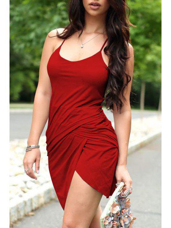fancy Solid Color Irregular Hem Bodycon Dress - RED XS