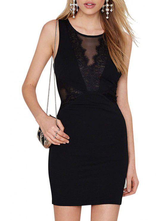 new Lace Spliced Bodycon Sundress - BLACK S