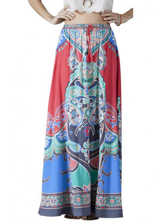 outfit High-Waisted Printed Drawstring Long Skirt - COLORMIX L