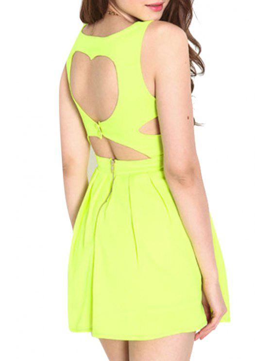 affordable Yellow Sleeveless A Line Backless Dress - YELLOW S