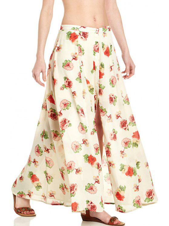 trendy Floral Print Button Fly Long Skirt - OFF-WHITE L