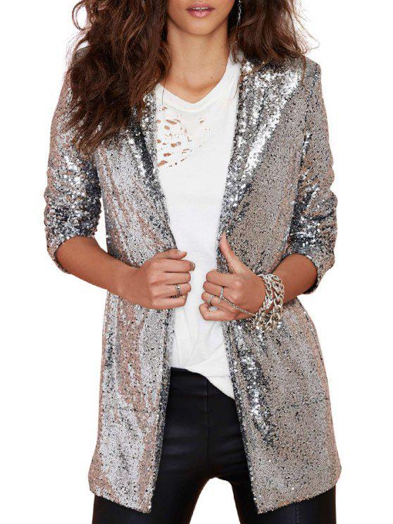 shop Lapel Solid Color Sequins Long Sleeve Blazer - SILVER 2XL