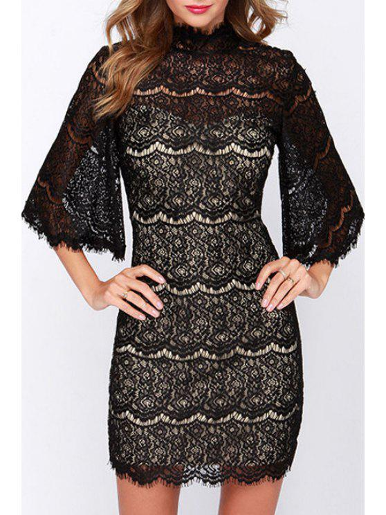 new See-Through Lace Half Sleeve Dress - BLACK M