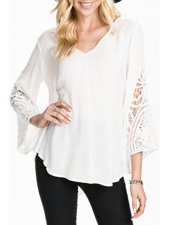 womens V-Neck Lace Splicing Solid Color T-Shirt - WHITE S