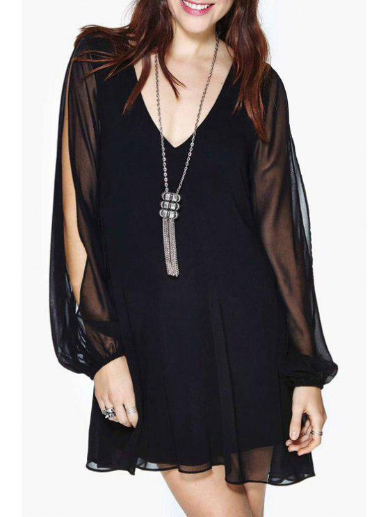 shop Solid Color Cut Out Layered Chiffon Dress - BLACK S