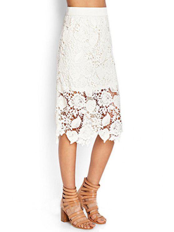 shops Crochet Flower Solid Color Lace Midi Skirt - WHITE S